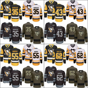 2017 Stanley Cup Champions Pittsburgh Penguins 35 Tom Barrasso 55 Larry Murphy 62 Carl Hagelin 43 Conor Sheary Black Premier 1917-2017 100th
