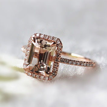 Handmade Pink Morganite Engagement Ring in 14k Rose Gold 6x8mm Emerald cut  Halo Diamond Morganite Ring Gemstone Ring Anniversary Ring