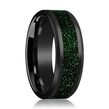 Black Ceramic Ring - Green Goldstone Inlay - Ceramic Wedding Band - Beveled - Polished Finish - 8mm - Ceramic Wedding Ring