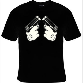 CARTOON HAND GUNS,Mickey holding guns,humor tee cartoon shirt, Disney cartoon design,gun control tshirt, gun control