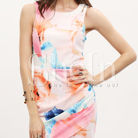 Pink Hourglass Sleeveless Floral Flowery Rouched Print Bodycon Dress -SheIn(Sheinside)
