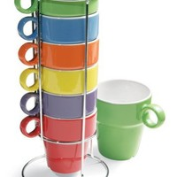 7 Piece Stacking Rainbow Mug And Stand Set