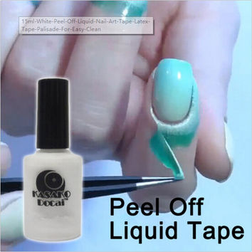 15ml White Peel Off Liquid Nail Art Tape Latex Tape Palisade For Easy Clean Base Gel Coat
