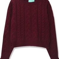 Cable kint Crop Solid Color Sweater