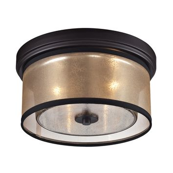 Diffusion 2 Light flushmount Oil Rubbed Bronze Beige Organza Drum Shade