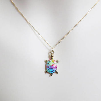 Rainbow, Turtle, Gold, Necklace, Modern, Dainty, Epoxy, Turtle, Animal, Necklace, Lovers, Best friends, Sister, Gift, Accessory, Jewelry