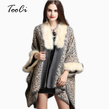 Winter Women Sweater Cardigan Female   High Quality  Faux Fox Fur Collar Poncho Gray  Beige Dark Blue Cape Wool Shawl Cape
