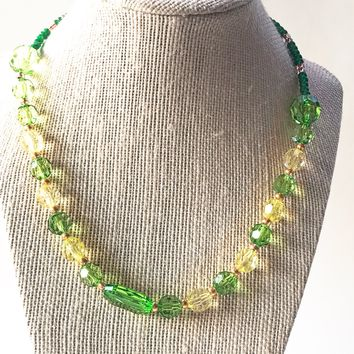 Green and Yellow Acrylic Necklace, Green Simple Necklace, Yellow Necklace, Green Necklace
