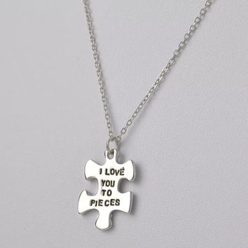 I Love You to Pieces Stamped Necklace