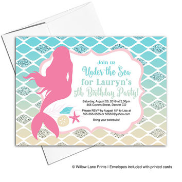 Mermaid birthday invite for girl | under the sea birthday party invitations | fifth birthday invitations | pool party invitation - WLP00325