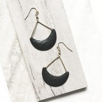 Dark Hammered Half Moon Dangle Earrings