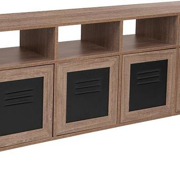 "Woodridge Collection 85.5""W Rustic Wood Grain Finish Console and Storage Cabinet with Metal Doors"