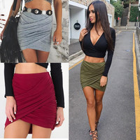 2016 American Apparel Street Fashion Women Lady High Waist Short Skirt  Sexy Bandage Bodycon Cross Fold  Pencil Skirts 5 Colors