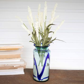Recycled Glass Vase With Blue Lines