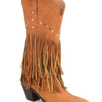 Roper Ladies Fashion Western Faux Leather Boots 12 Tan Fringe Boot With Stud Design
