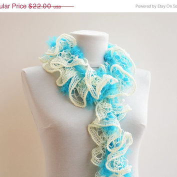 Crochet Scarves Aqua blue cream Ruffle/Cascade Scarf by Ayca on Etsy