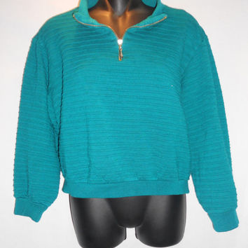 Vintage 80s Alfred Dunner Dark Teal Textured Sweater Shirt Pullover Size Large