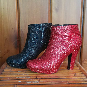 SAMPLE SALE: Upcycled Harley Quinn Inspired Red and Black Glitter Closed Toe Booties US Size 6.5