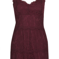 Lace Layered Playsuit - Burgundy