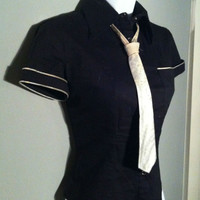 Lip Service Button Up Military Secretary Top goth fetish industrial cyber punk S