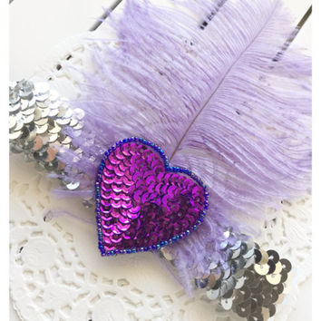 SALE Violet Hearts Gatsby Vintage Feather Girls Headband Designed 2 Match Tutu Du Monde - fits toddler to Adult