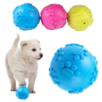 3 Color Teeth Bite Rubber Dog Play Ball
