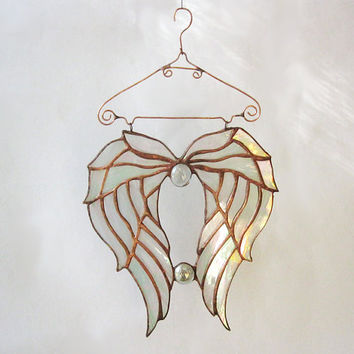 Stained Glass Angel Wings Suncatcher Tiffany Handmade