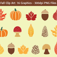 "Fall Clip Art: ""Autumn Symbols"" - 16 bold fall graphics, acorns, pumpkins, leaves, pinecones, mushrooms - fall foliage, web & graphic design"
