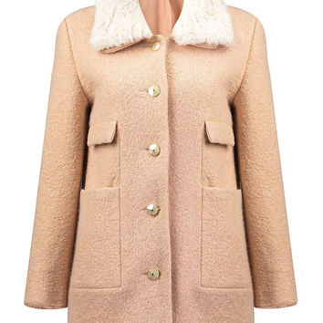 Apricot Woolen Coat with Faux Fur Collar