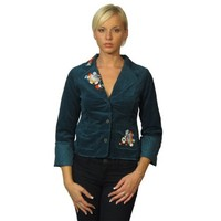 599fashion Ladies fashion flared sleeve corduroy jacket w/decorative knitted design-id.22818-large