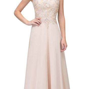Champagne Appliqued Long Formal Dress High Neckline