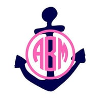 Anchor and Monogram Decal 5 Sticker by DecalInnovations on Etsy