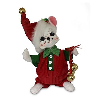 Annalee Dolls 6in 2018 Christmas Jinglebell Boy Mouse Plush New with Tags