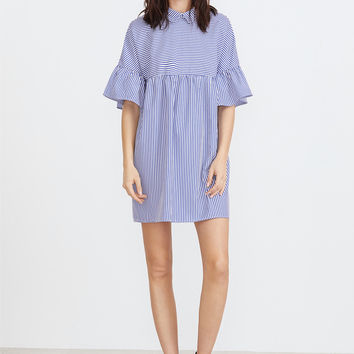 Blue And White Striped Pointed Collar Ruffle Sleeve Babydoll Dress   MakeMeChic.COM