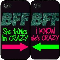 BleuReign(TM) BFF I Know She's Crazy Set of 2 Best Friend Plastic Phone Case Back Covers iPhone 5c