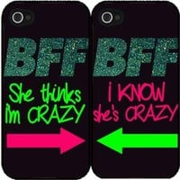 BFF I Know She's Crazy Set of 2 Best Friend Plastic Phone Case Back Covers iPhone 5c includes BleuReign(TM) Cloth and Warranty Label