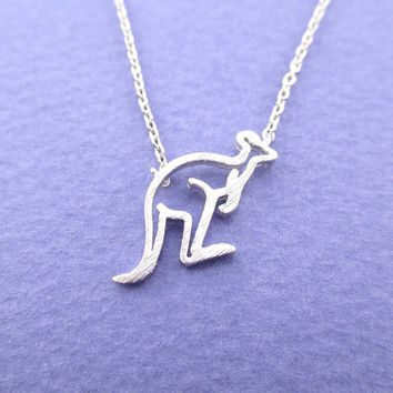 Kangaroo Outline Shaped Pendant Necklace in Silver
