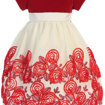 Red Velvet & Ivory Tulle Girls Holiday Dress w. Floral Soutache Skirt 2T-12