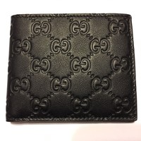 AUTHENTIC GUCCI Men's Classic Black Soft Guccissima Leather Bi-fold Wallet ITALY