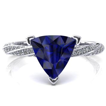 Elysia Trillion Blue Sapphire 3 Prong 3/4 Eternity Diamond Accent Ring
