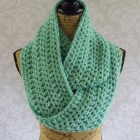 Infinity Scarf Crochet Knit Winter Ocean Sea Green Mint Women's Accessories Eternity Fall Winter