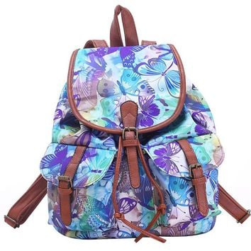 large canvas butterfly print daypack backpack travel bag 2