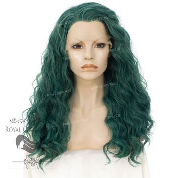 """24"""" Heat Safe Synthetic Lace Front """"Ada"""" with Wavy Texture in Royal Green"""