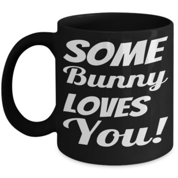 Black Ceramic PBA Free Holiday Jar Easter Breakfast Mug Black Coffee Cup For Easter 2017 2018 Gifts For Family Grandparent Grandma Granddad Wive Husband Couples Funny Sayings Holiday Tea Coffee Mugs Cups Some Bunny Loves You