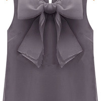 Grey Sleeveless Bow Chiffon Blouse -SheIn(Sheinside)