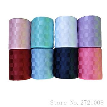 SUISHOU 5 yards Double - sided lattice ribbons Grosgrain satin Ribbon DIY Decoration apparel sewing accessories