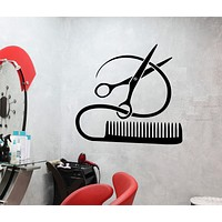 Vinyl Decal Barber Tools Wall Sticker Hairstyle Hair Stylist Hair Salon Beauty Decor Unique Gift (ig2387)