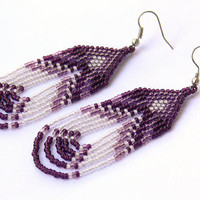 White And Purple Earrings. Native American Earrings Inspired. Long Earrings. Beadwork