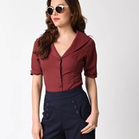 Unique Vintage Burgundy Red Button Up Short Sleeve Coco Blouse