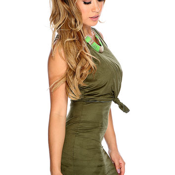 Sexy Army Green Sleeveless Knotted Front Design Party Dress